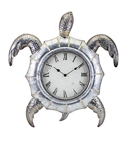 IMAX Tyler the Turtle Clock, Hammered Galvanized Metal,
