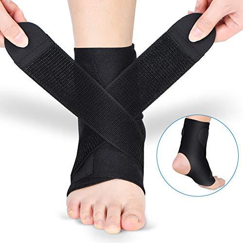 Doact Fußbandage Sprunggelenkbandage Fußgelenkstütze Knöchelschutz mit PE Board Stärke Stabilisieren und Haken und Schlaufe Fußgelenkbandage für Männer und Frauen Knöchelverstauchung Arthritis