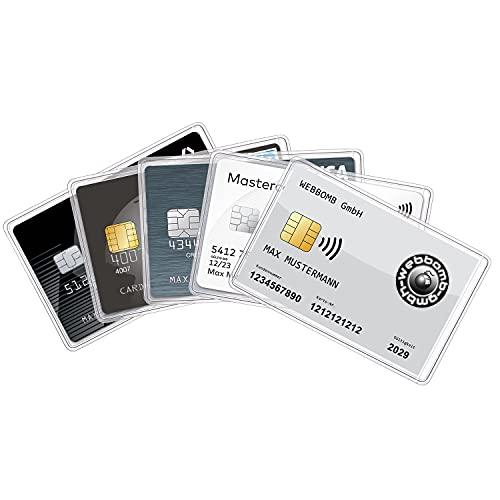 5 fundas para tarjetas de identificación, tarjetas bancarias, carnés de identidad, tarjetas de crédito, carné de conducir, funda transparente