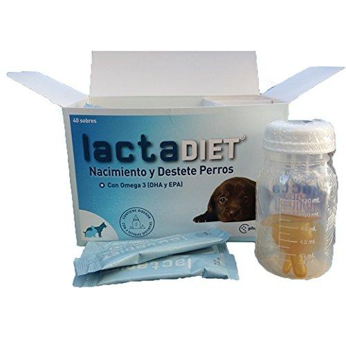Latte Materno per Cuccioli - lactadiet Nascita e svezzamento Latte maternizada per Cani, con Omega 3 (EPA e DHA) - 40 Buste + Biberon con 3 tettarelle Diverse