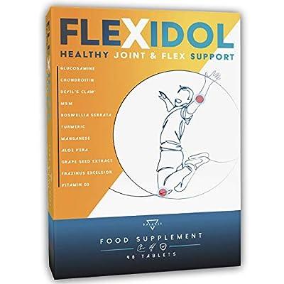 FLEXIDOL®   Glucosamin Chondroitin Hochdosiert   Glucosamin   Ergänzung für gesunde Gelenke und Gelenkschmerzen mit MSM, Teufelskralle, Boswellia Serrata, Kurkuma, Aloe, Mangan, Vitamin D3   48 cpr