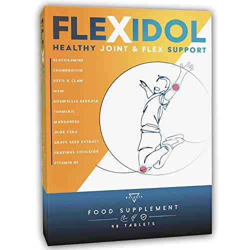 FLEXIDOL® | Glucosamine Chondroitine | Supplément pour des Articulations Saines et des Douleurs Articulaires avec MSM, Griffe du Diable, Boswellia Serrata, Curcuma, Aloès, Manganèse, Vit D3 | 48 cpr