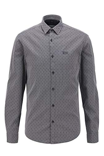 BOSS Herren Brod S Slim-Fit Hemd aus Baumwolle mit zweifarbiger Webstruktur