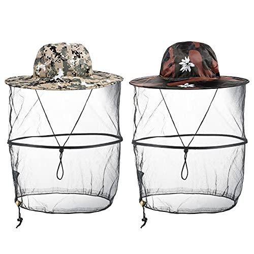 Kopfnetz Moskito Sonnenhut, 2 Pack Moskito Maske, Moskito Kopfnetz Hut, mit Mesh-Gesichtsschutz, Anti-Insekten, Angelhut für Imkerei, Fischerei, Freien Enthusiasten Schutz