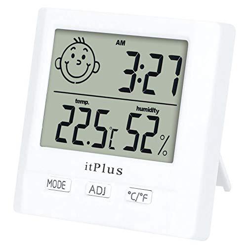 Igrometro Termometro Digitale, Orologio da Tavolo Parete Temperatura Interno Monitor Temperatura Digitale Casa Termoigrometro per Stanza Bagno Soggiorno Misuratore di umidità e Temperatura Ambiente