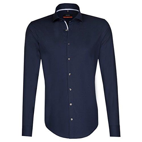Seidensticker 676236, Herren Geschäft Hemd, Blau (Dunkelblau 19), 36