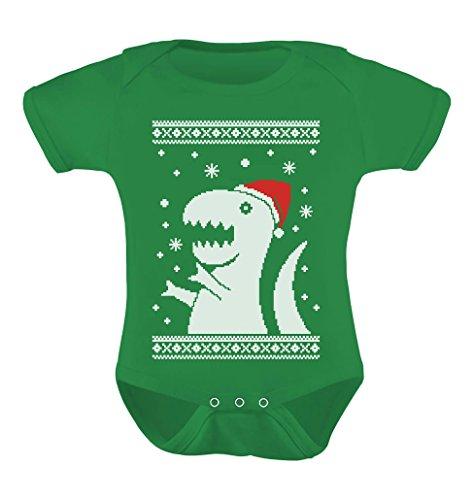 Big Trex Santa Ugly Christmas Sweater Baby Grow Vest Baby Bodysuit Newborn Green