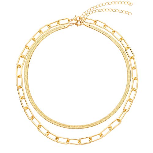 BaubleStar Link Layered Collar Necklace Gold Layering Paperclip Chain Herringbone Snake Choker Statement Fashion Jewelry for Women Girls
