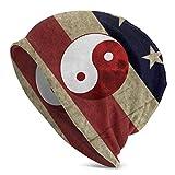 Hdadwy Yin Yang Icono símbolo de armonía Rojo y Blanco Unisex Adulto Gorro de poliéster Gorra de Invierno al Aire Libre Moda Gorras cálidas