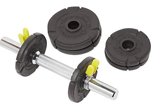 ENERGETICS Unisex– Erwachsene Kurzhantel-Set Cast Iron Kurzhantelstange, Black, One Size