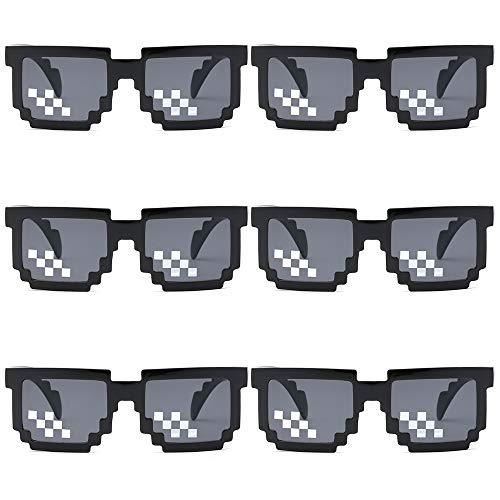 gotyou 6 Stück Mosaic Pixel Brillen,Thug Life Sonnenbrillen,Mosaic Plaid Sonnenbrillen,Dekorative Brille Party Geschenk,Sonnenbrillen Brillen Foto Prop Spielzeug,Männer Frauen Sonnenbrillen