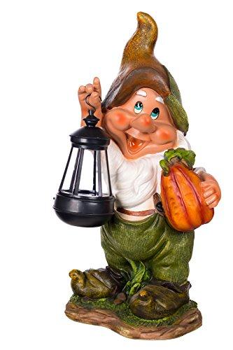 Birendy Figur Zwerg Gartenzwerg Gartenwichtel mit LED Solarlampe NF11021-1D Groß Deko Zwerg, Gartendekoration Gartenfigur 38cm