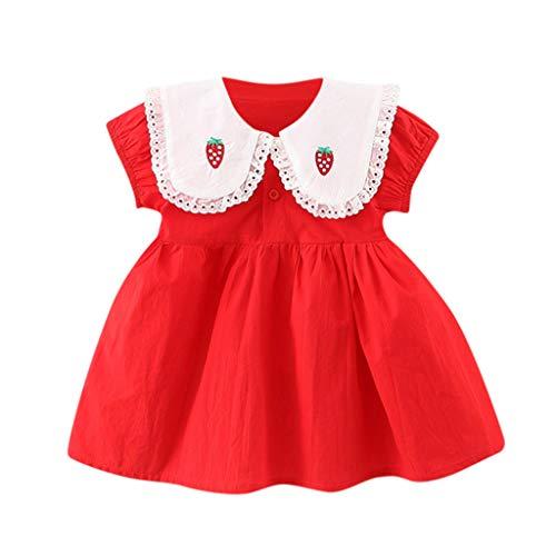 Dulce Bebé Niño Niña Fresa Peter Pan Collar Vestido Sólido Algodón Vestido de Princesa Vestidos de Ropa