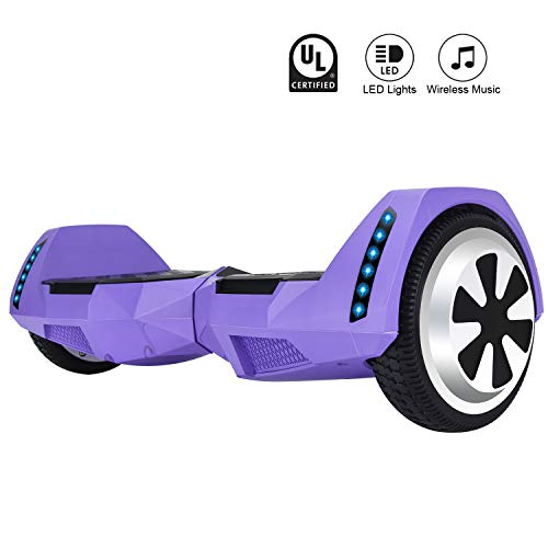 CXM2018 Bluetooth Enabled 6.5 inch Self Balancing Hoverboard with Built-in Wireless Speaker,250Watt Dual Motors and LED Side Lights for Kids and Adults,UL 2272 Certified Electric Scooter (Purple)