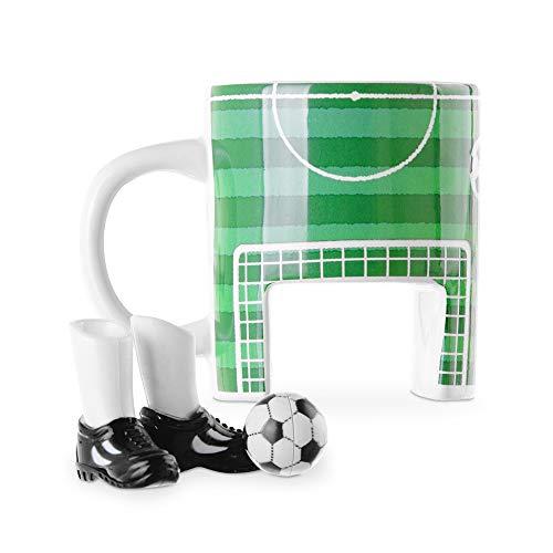 Monsterzeug Fußball Tasse Set, Keramikbecher Fussballtasse mit Fingerschuhen und Ball, Soccer Kaffeebecher aus Keramik