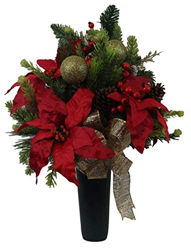 Cemetery Floral Arrangement, Graveside Flowers, Memorial Cone, Christmas Cemetery Flowers