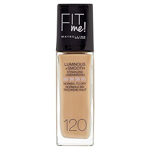 Maybelline Fit Me! Liquid Make-up Nr. 120 Classic Ivory, flüssiges Make-up, passt sich dem Hautton perfekt an, 100% Leuchtkraft, für einen gesunden, strahlenden Teint, 30 ml