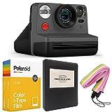 Polaroid Now i-Type Instant Camera - Black + Polaroid Color i-Type Film (16 Sheets) + Black Album + Neck Strap - Gift Bundle