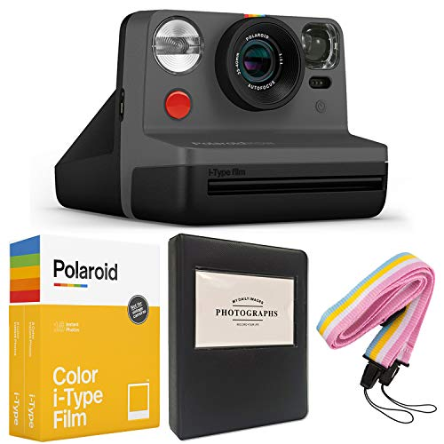 Polaroid Now i-Type Instant Camera - Black + Polaroid Color i-Type Film (16 Sheets) + Black Album + Neck Strap - Gift Bundle