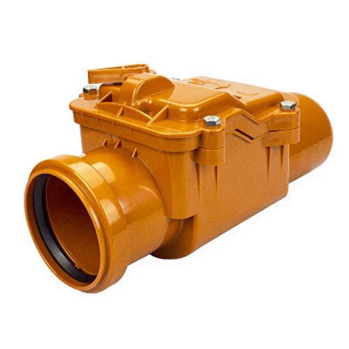 Rückstauklappe Rückstauverschluss fi 50, 75, 110, 160, 200 für KG Rohr Abwasser (75 mm, Orange)