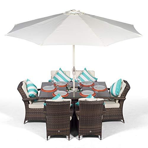 Arizona Rattan Gartenmöbel Set für 6 Personen Braun | Rechteckige Polyrattan Garten Möbel Sitzgruppe mit Tisch, Getränkekühler und Sonnenschirm | Lounge Möbel, Balkon Möbel Set | Mit Abdeckung