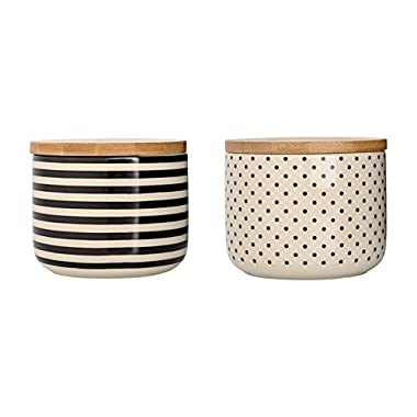 Off White & Black Jars with Wood Lid, 2 Styles (Dots)