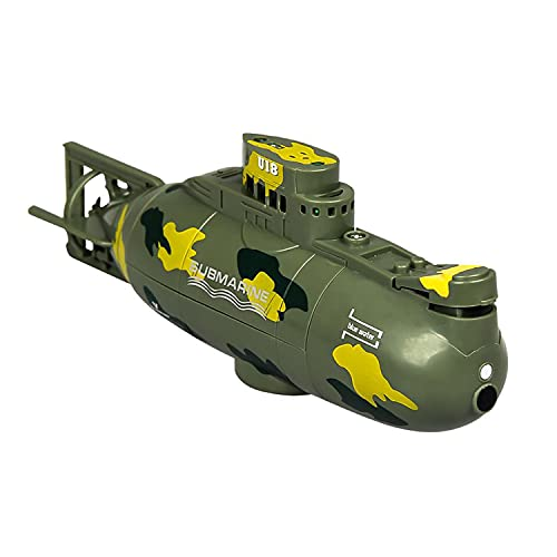 HIUHIU 6-channel submarine toy remote control boat waterproof model RC children's simulation gift diving toy toy,Green