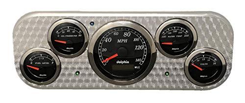 Dolphin Gauges 1937-1938 Chevy Car 5 Gauge Dash Panel - GPS - Engine Turned - Black