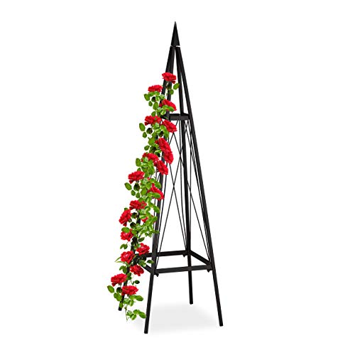Relaxdays Rankhilfe, eckig, freistehend, Rosen, Tomaten, Wein, Garten, wetterfest, Eisen Rankobelisk, H: 132 cm, schwarz