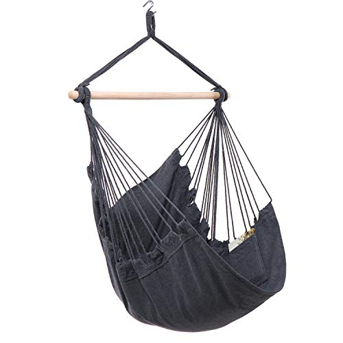 Y- STOP Hammock Chair Hanging Rope Swing - Max 330 Lbs - Quality Cotton Weave for Superior Comfort &...