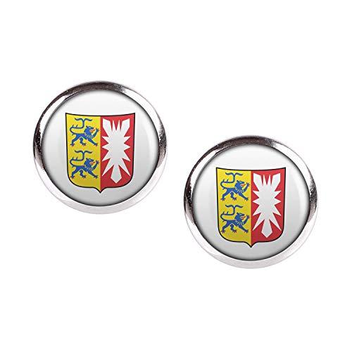 Mylery Ohrstecker Paar mit Motiv Bundes-Land Flagge Schleswig-Holstein silber 12mm