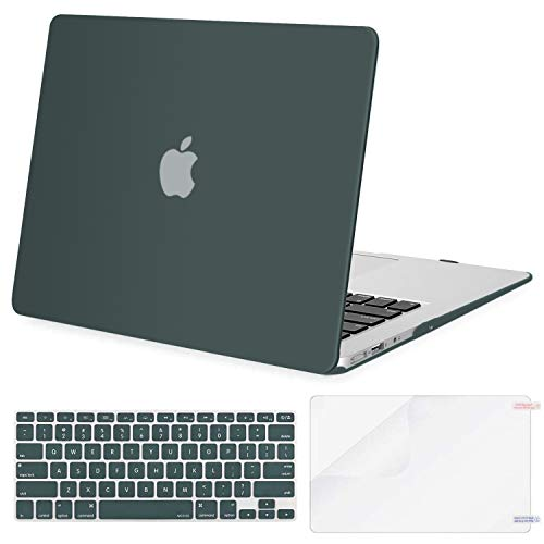 MOSISO Plastic Hard Shell Case & Keyboard Cover & Screen Protector Only Compatible with MacBook Air 13 inch (Models: A1369 & A1466, Older Version 2010-2017 Release), Midnight Green