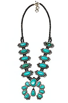 JChronicles Natural Turquoise Stone Vintage Navajo Western Squash Blossom Statement Necklace  SQ-820