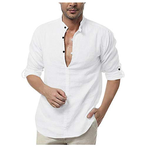 Holzkary Baggy Long Sleeve Tops Casual Pure Color Quick-Dry Henley Shirts/Hoodies/Button Down Shirt for Men(L.White-1)