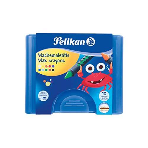 Pelikan 722942 - Wachsmalstifte 665/8d rund, wasservermalbar (8er Etui | Blau)
