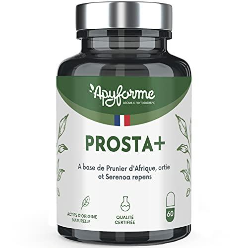 Prostate et Confort Urinaire - 5 Actifs dont Palmier Naim, Pygeum Africanum, Zinc - Prosta+ 100% Français - 1 Mois, 60 Gélules - Fabriqué et Conditionné en France par Apyforme