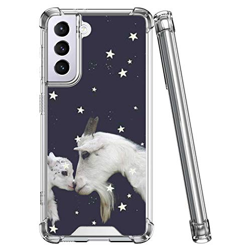 MOWIME Clear Case Compatible with Samsung Galaxy S21 Case Starry Sky Goat 360 Full Body TPU+PC Protective Shockproof for Samsung Galaxy S21 - Clear