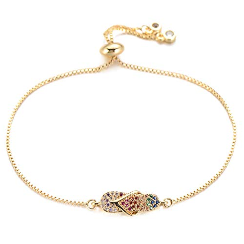 Mano Pulseras Brazalete Joyería Mujer Zirconia Cúbica Flip Flops Charm Bracelet Color Dorado Cadena Ajustable Pulseras D