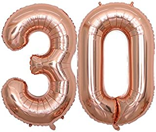 BALONAR 40 inch Jumbo 30 Rose Gold Foil Balloons for 30th Birthday Party Supplies,Anniversary Events Decorations and Graduation Decorations (ROSE30)