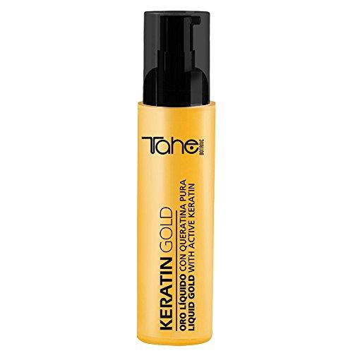 Tahe - Gold Haarlifting aus Arganöl, Leinsamenöl und Vitamin A, D und E, für gelocktes und glitzerndes dehydriertes Haar mit reinem Keratin und flüssigem Gold, 125 ml