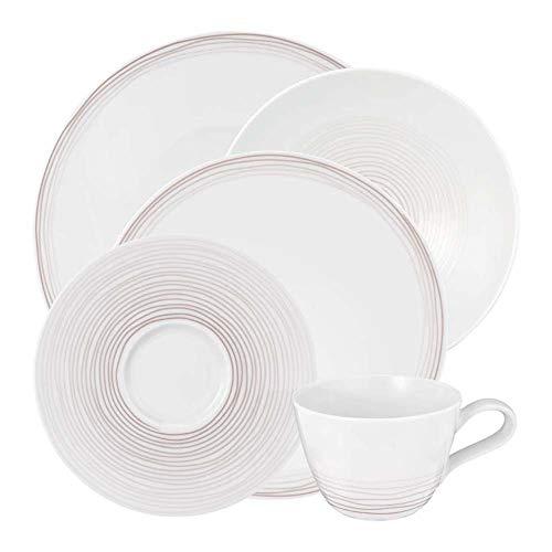 Seltmann Weiden 001.738574 Kombiservice 30-teilig | Serie Life Ammonit | Set beinhaltet je 6 Speiseteller, Suppenteller, Frühstücksteller, Kaffeeober-und Untertassen, Hartporzellan, Braun