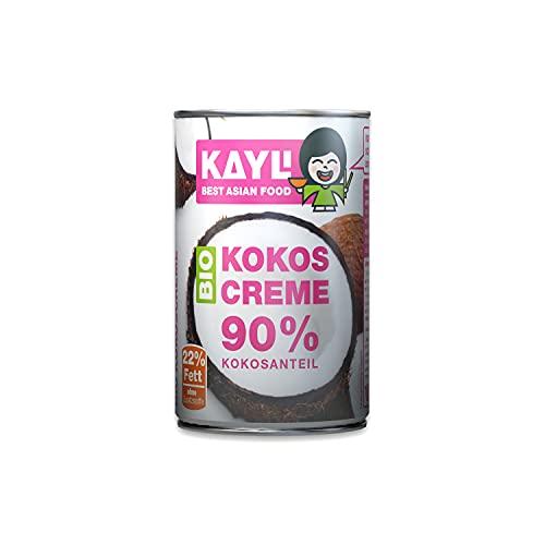 KAY LI Bio Kokoscreme 12er Pack, 12 x 400 ml, mit 90% Kokosnussfleisch, Fettgehalt: 22%, Premium Bio-Kokosmus, Hoher Kokosfleischanteil, vegan und glutenfrei