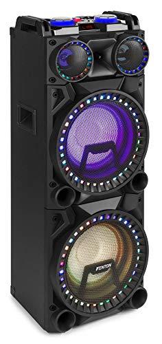Fenton VS210 Aktive Party-Box- Leistung: 1600 Watt, 2 x 10 Subwoofer, Bluetooth-Funktion, USB-Port, SD-Slot, Mediaplayer, Echo-, Tiefen- & Höhenregler, LED-Show