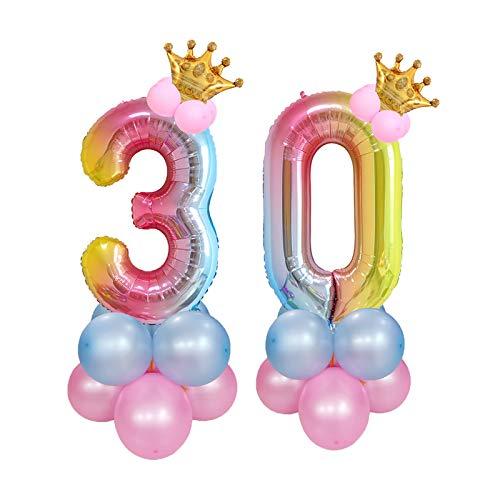 Nobranded Chexin 30 Anni Compleanno Decorazioni,Numeri 30 e Corona Palloncini, Palloncini in Lattice, per Compleanno, Battesimo Prima Comunione e Baby doccia, Anniversario di Matrimonio, Festa Laurea