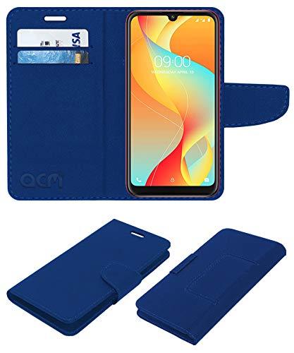 Acm Leather Flip Wallet Front & Back Case Compatible with Lava Z66 Mobile Cover Blue