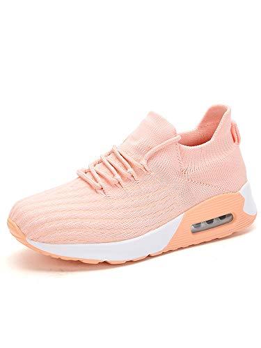 Zapatillas de deporte para mujer, con cojín de aire, atlético, para correr, calcetines elásticos, con cordones, color Rosa, talla 42 EU