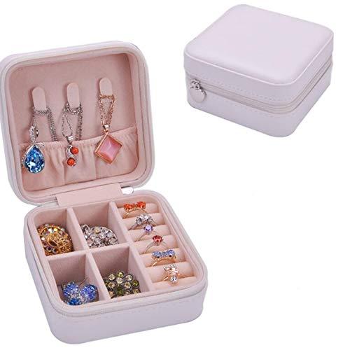 GUYAQ Joyero de viaje pequeño organizador de cuero sintético para joyas, anillos, pendientes, collares, joyas, caja de regalo, color blanco