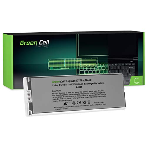 Green Cell® A1185 Laptop Akku für Apple MacBook 13 A1181 2006-2009 (Li-Polymer Zellen 5600mAh 10.8V Silber)