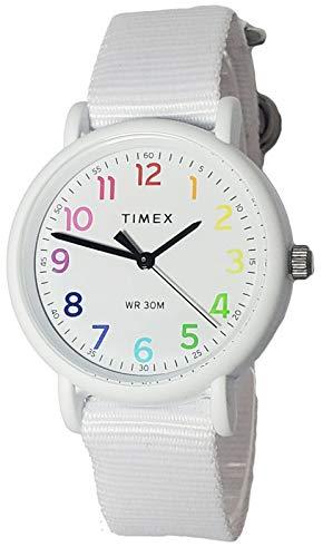 Timex TW2R40700 Weekender Women's Analog Watch White Nylon Strap