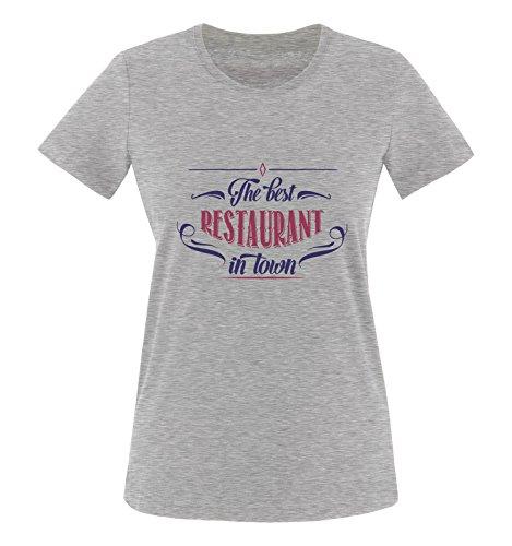 Comedy Shirts - The Best Restaurant in Town - Damen T-Shirt - Graumeliert/Lila-Fuchsia Gr. L